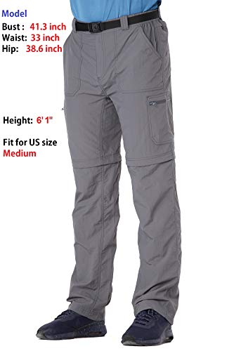 Trailside Supply Co. Men's Quick-Dry Convertible Nylon Trail Pants with Belt 3