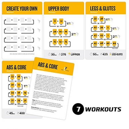 Exercise Cards BODYWEIGHT - Home Gym Workout Personal Trainer Fitness Program Guide Tones Core Ab Legs Glutes Chest Biceps Total Upper Body Workouts Calisthenics Training Routine 2
