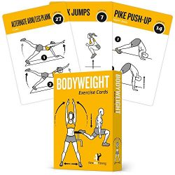 Exercise Cards BODYWEIGHT - Home Gym Workout Personal Trainer Fitness Program Guide Tones Core Ab Legs Glutes Chest Biceps Total Upper Body Workouts Calisthenics Training Routine 1