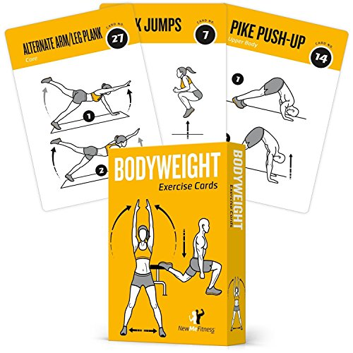 Exercise Cards BODYWEIGHT - Home Gym Workout Personal Trainer Fitness Program Guide Tones Core Ab Legs Glutes Chest Biceps Total Upper Body Workouts Calisthenics Training Routine 29