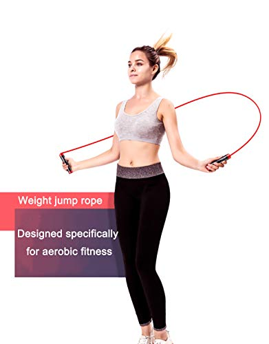 Gaoykai Weighted Jump Rope for Women,Men,Heavy Jump Rope with Adjustable Bold TPU Rope,Ball Bearing Aluminum Alloy Non-Slip Handle,Great for Crossfit Training, Boxing, and MMA Workouts 7