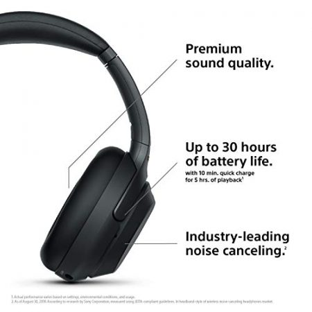 Sony Noise Cancelling Headphones WH1000XM3: Wireless Bluetooth Over the Ear Headphones with Mic and Alexa voice control - Industry Leading Active Noise Cancellation - Black 2