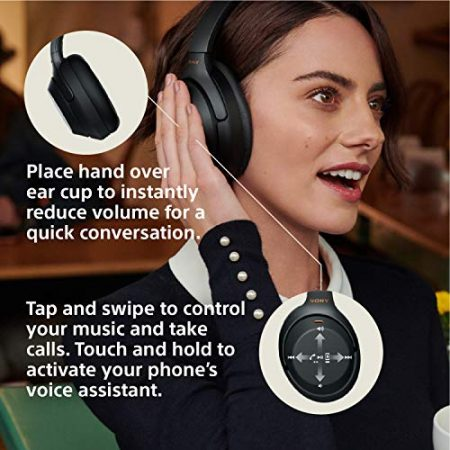 Sony Noise Cancelling Headphones WH1000XM3: Wireless Bluetooth Over the Ear Headphones with Mic and Alexa voice control - Industry Leading Active Noise Cancellation - Black 3
