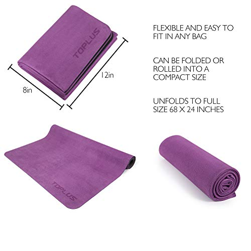 Toplus Travel Yoga Mat Foldable 1 16 Inch Thin Hot Yoga Mat Sweat Absorbent Anti Slip High Grade Natural Suede For Travel Yoga And Pilates Coming With Carrying Bag Nomad Gear