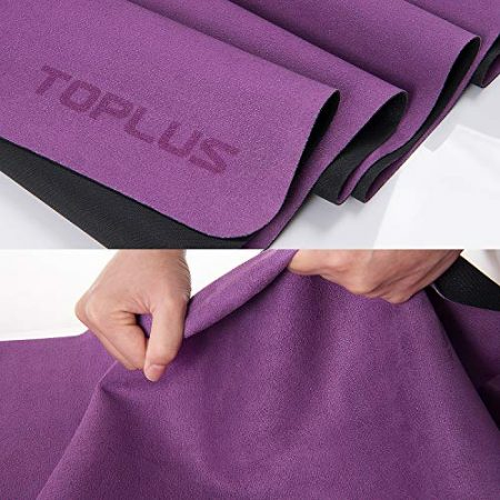 TOPLUS Travel Yoga Mat - Foldable 1/16 Inch Thin Hot Yoga Mat, Sweat Absorbent Anti Slip, High-Grade Natural Suede for Travel, Yoga and Pilates, Coming with Carrying Bag 4