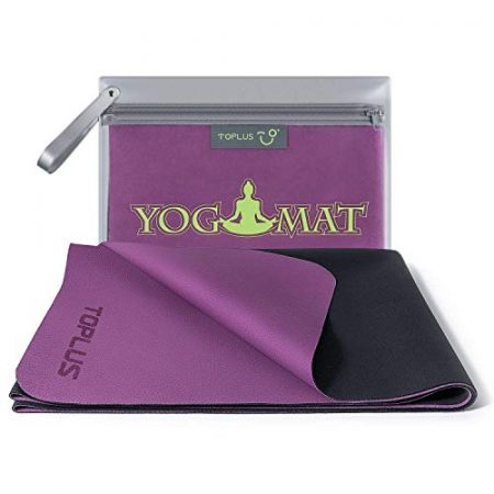 TOPLUS Travel Yoga Mat - Foldable 1/16 Inch Thin Hot Yoga Mat, Sweat Absorbent Anti Slip, High-Grade Natural Suede for Travel, Yoga and Pilates, Coming with Carrying Bag 1