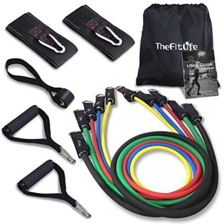 TheFitLife Exercise Resistance Bands with Handles - 5 Fitness Workout Bands Stackable up to 110 lbs, Training Tubes with Large Handles, Ankle Straps, Door Anchor Attachment, Carry Bag and Bonus eBook 1