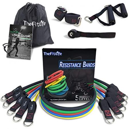 TheFitLife Exercise Resistance Bands with Handles - 5 Fitness Workout Bands Stackable up to 110 lbs, Training Tubes with Large Handles, Ankle Straps, Door Anchor Attachment, Carry Bag and Bonus eBook 7