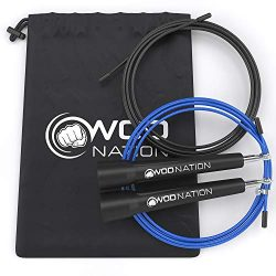 WOD Nation Speed Jump Rope - Blazing Fast Jumping Ropes - Endurance Workout for Boxing, MMA, Martial Arts or Just Staying Fit + FREE Skipping Training Included - Adjustable for Men, Women and Children 10